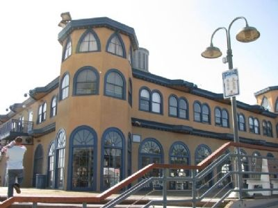 The Santa Monica Pier Carousel Marker on the left of building image. Click for full size.
