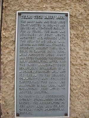 Texas Tech Dairy Barn Marker image. Click for full size.