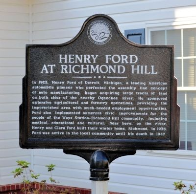 Henry Ford at Richmond Hill Marker Photo, Click for full size