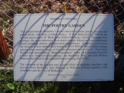 The Poetry Garden Marker image. Click for full size.