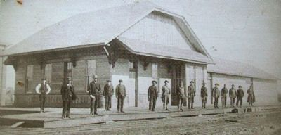 Photo of Kansas Pacific Railroad Depot on Marker image. Click for full size.