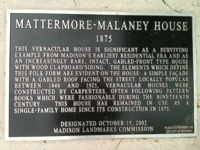 Mattermore - Malaney House Marker Photo, Click for full size