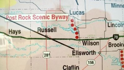 Route of Post Rock Scenic Byway on Marker image. Click for full size.