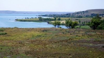 View of Wilson Lake from Post Rock Scenic Byway Marker image. Click for full size.