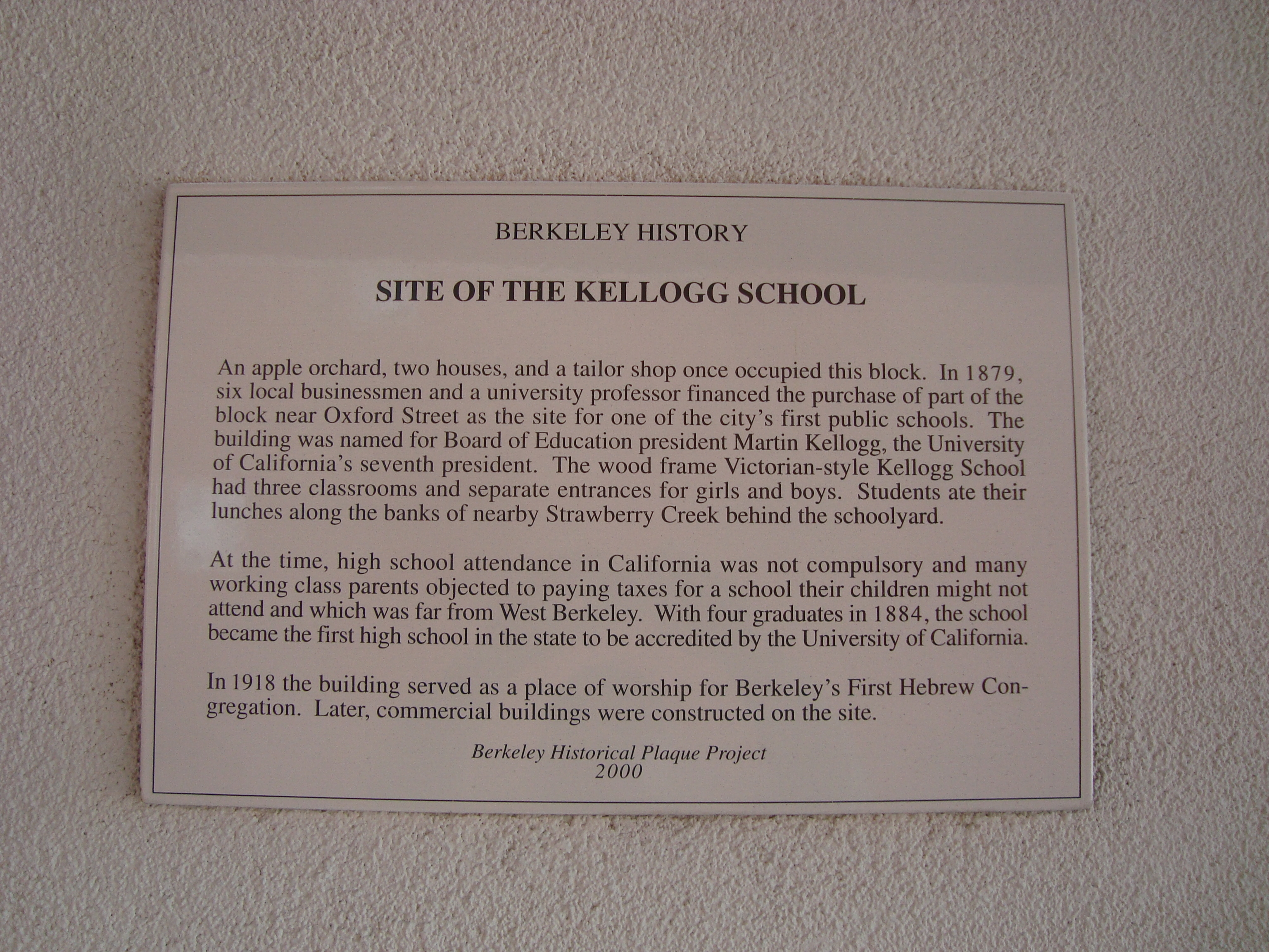 Site of the Kellogg School Marker