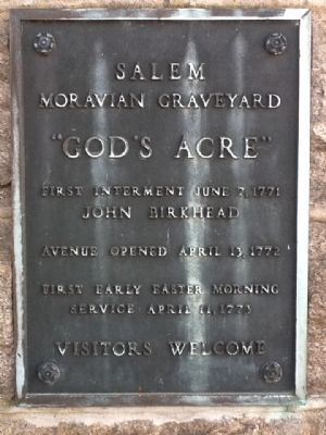 Salem Moravian Graveyard Marker Photo, Click for full size
