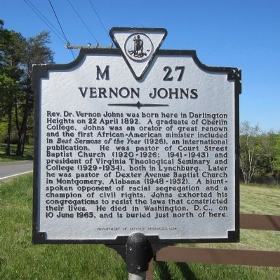 Vernon Johns Marker image. Click for full size.