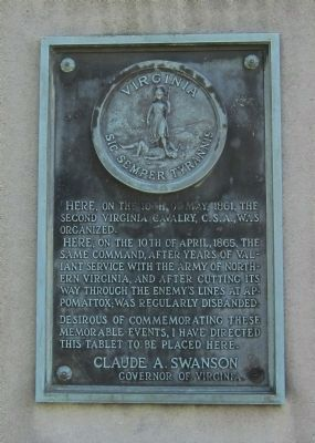 Second Virginia Cavalry, C.S.A. Tablet image. Click for full size.