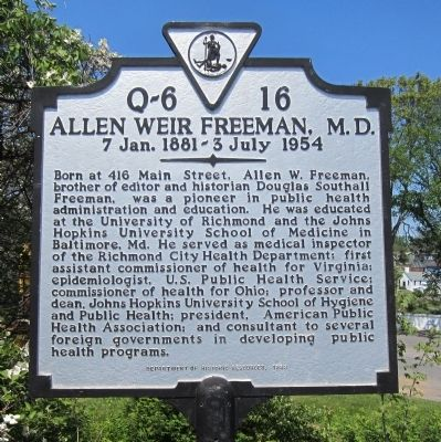 Allen Weir Freeman, M.D. Marker image. Click for full size.