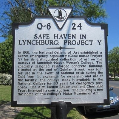 Safe Haven in Lynchburg: Project Y Marker image. Click for full size.
