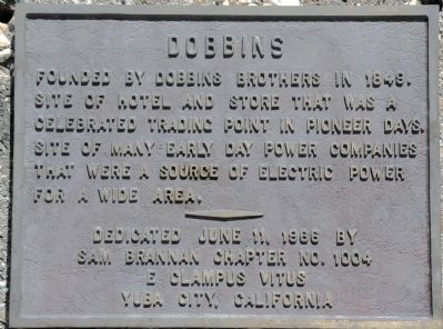 Town of Dobbins plaque image. Click for full size.