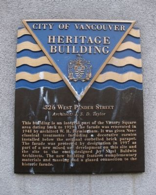 326 West Pender Street Marker image. Click for full size.