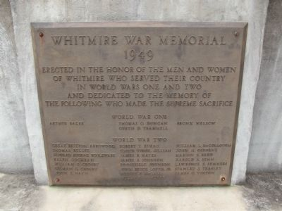 Whitmire War Memorial Marker image. Click for full size.