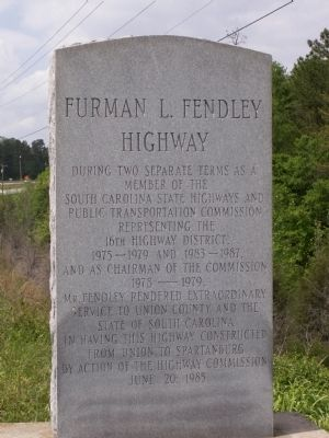 Furman L Fendley Highway Marker image. Click for full size.