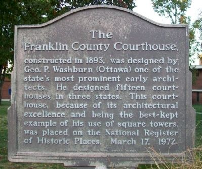 The Franklin County Courthouse Marker image. Click for full size.