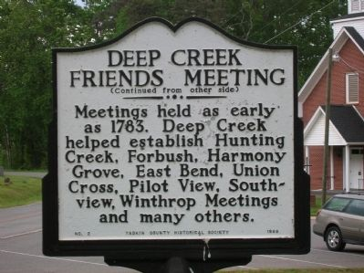 Deep Creek Friends Meeting Marker (Back) image. Click for full size.