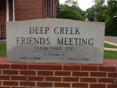 Deep Creek Friends Meeting stone sign image. Click for full size.