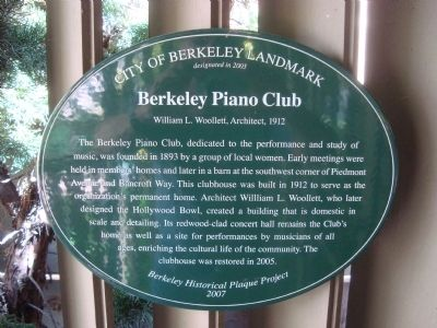 Berkeley Piano Club Marker image. Click for full size.
