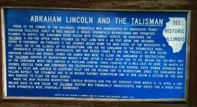 Abraham Lincoln and the <u>Talisman</u> Marker image. Click for full size.