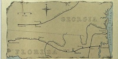 Olustee Battlefield Marker, center panel, Map image. Click for full size.