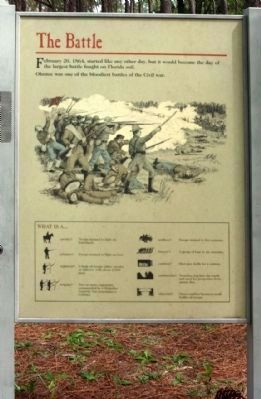 "Olustee Battlefield Marker, right panel ""The Battle"" image. Click for full size."