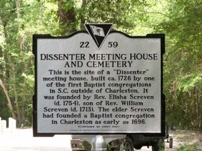 Dissenter Meeting House and Cemetery Marker image. Click for full size.