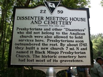Dissenter Meeting House and Cemetery Marker Reverse image, Click for more information