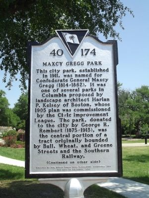 Maxcy Gregg Park Marker image. Click for full size.