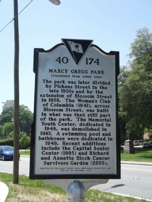 Maxcy Gregg Park Marker Reverse image. Click for full size.