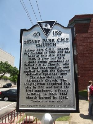 Sidney Park C.M.E. Church Marker image. Click for full size.