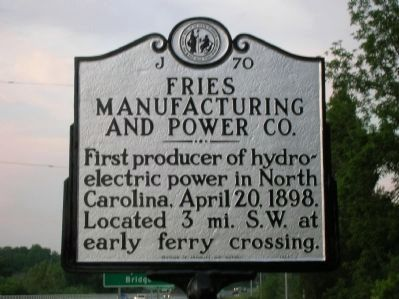 Fries Manufacturing and Power Co. Marker image. Click for full size.