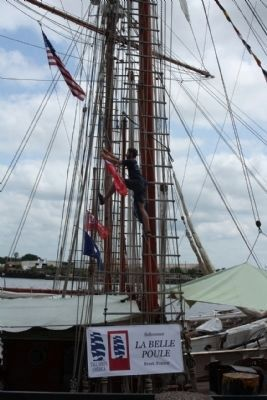 "Savannah Waterfront, Tall Ships 2012, French Schooner ""La Belle Poule"" hanging a pennant image. Click for full size."