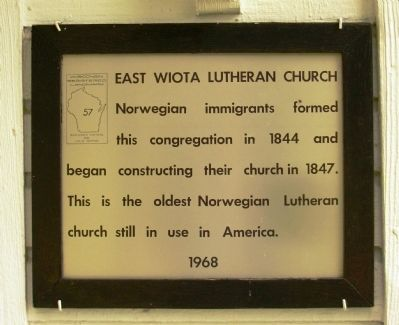 East Wiota Lutheran Church Marker image. Click for full size.