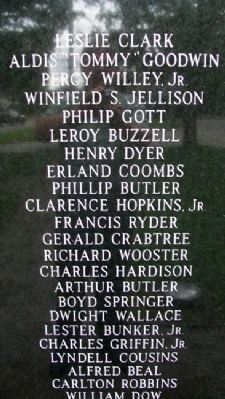Franklin Veterans Memorial WWII Honor Roll image. Click for full size.
