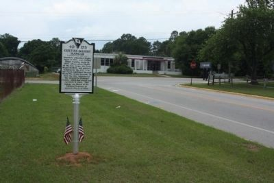 Curtiss-Wright Hangar Marker, looking west along Jim Hamilton Blvd. near Airport Blvd image. Click for full size.