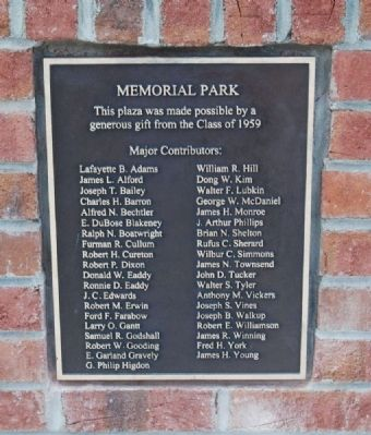 Memorial Park List of Major Contributors<br>from the Class of 1959 image. Click for full size.