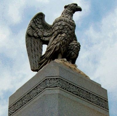 Elberton Granite Bicentennial Memorial Fountain<br>Eagle Detail Photo, Click for full size