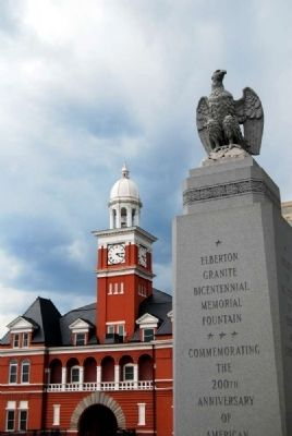 Elberton Granite Bicentennial Memorial Fountain<br>Elbert County Courthouse in Background Photo, Click for full size