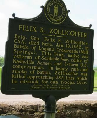 "Felix K. Zollicoffer, ""Zollie Tree"" Marker Side 1 image. Click for full size."