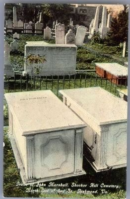 Grave of John Marshall, Shockoe Hill Cemetery, North End of 3rd St., Richmond, Va. image. Click for full size.