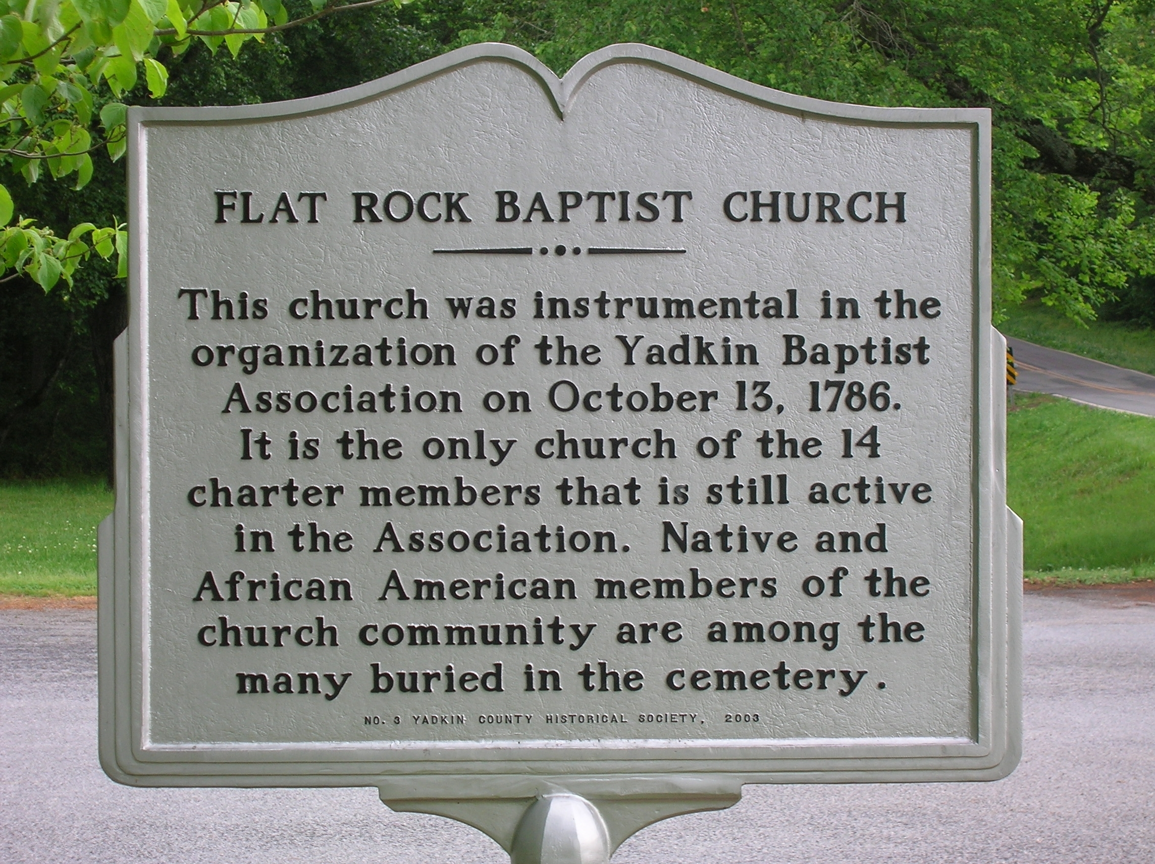 Flat Rock Baptist Church Marker (side B)