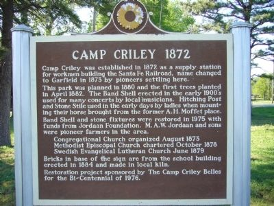 Camp Criley 1872 Marker image. Click for full size.