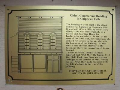 Oldest Commercial Building in Chippewa Falls Marker image. Click for full size.