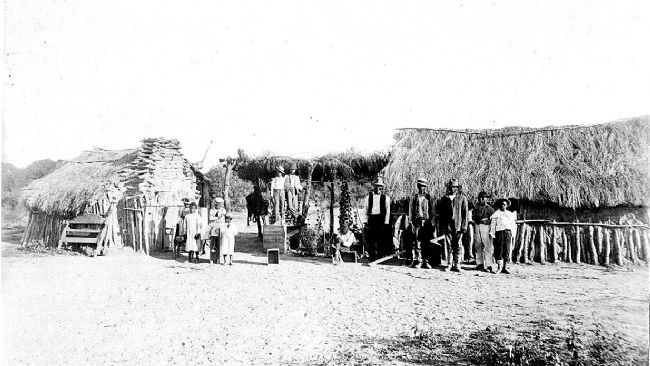 Historic view of the Seminole Scout Camp on Fort Clark image. Click for full size.