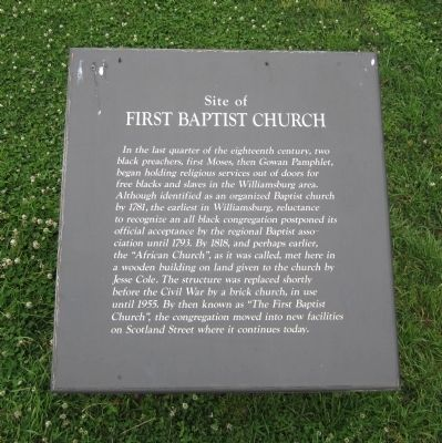 Site of First Baptist Church Marker Photo, Click for full size