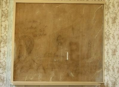 Landon House Marble with fading pencil sketchings and signatures of soldiers image. Click for full size.