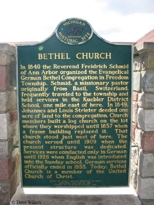 Bethel Church Marker Side 1 image. Click for full size.