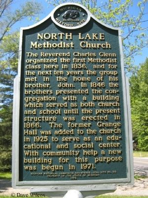 North Lake Methodist Church Marker image. Click for full size.