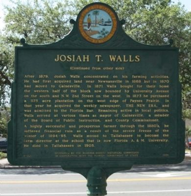 Josiah T. Walls Marker, reverse side image. Click for full size.