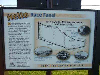 Sign on back of Elgin Road Races Marker image. Click for full size.